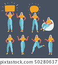Businesswoman character in different poses set  50280637
