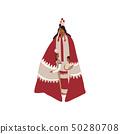 Mother red Indian cloak sheltering children. Vector illustration. 50280708