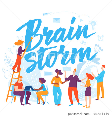 Vector concept brainstorm business illustration with cartoon working people.  50281419