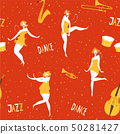 Vintage style vector dance seamless pattern with dansing woman and musical instruments 50281427