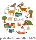 Iceland nature vectorin a circle with  symbols of landscapes, animals and architecture. . 50281428