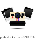 Retro instant camera and  blank photo frames 50281816