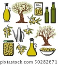 Olive oil and vegetables product icons 50282671
