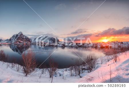 Sunrise on reine village with snow mountain 50289193