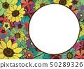減速火箭式夏天框架向日葵花手拉的花卉背景材料日本樣式 50289326
