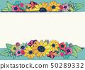 減速火箭式夏天框架向日葵花手拉的花卉背景材料日本樣式 50289332