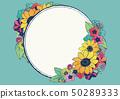 減速火箭式夏天框架向日葵花手拉的花卉背景材料日本樣式 50289333