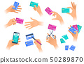 The hands with credit cards in various situations. 50289870