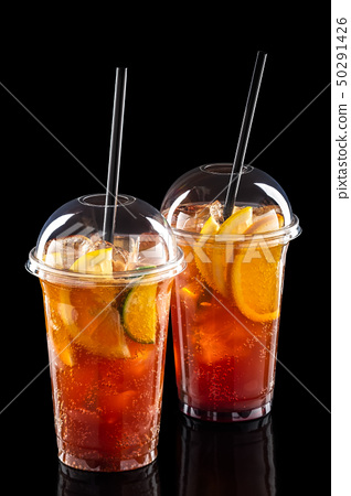 Cold refreshing cocktails in take away glass 50291426