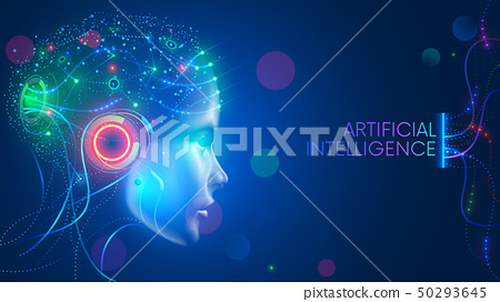 Artificial intelligence in humanoid head with neural network thinks. AI with Digital Brain is 50293645