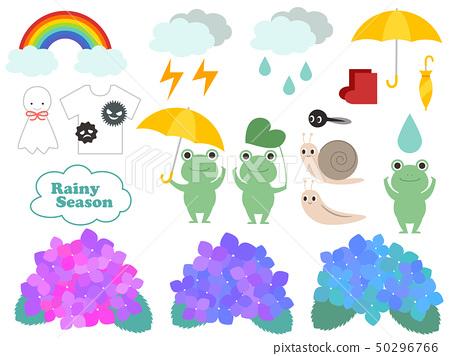 Cute rainy season illustration set 50296766