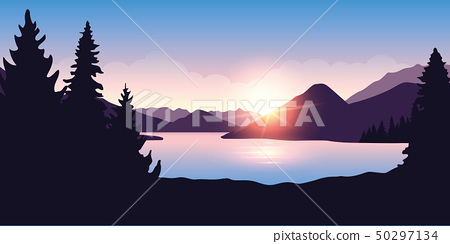 big river and forest nature landscape at sunrise in purple colors 50297134