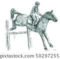 Show Jumping, hand drawn illustration. Line art 50297255