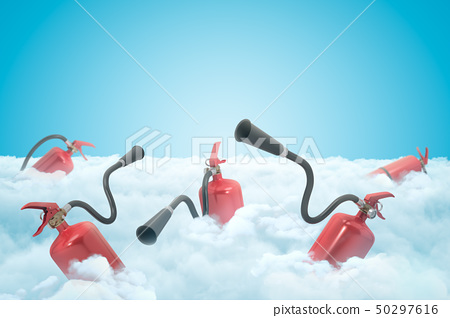 3d rendering of several red fire-extinguishers on layer of thick white clouds with blue sky above. 50297616