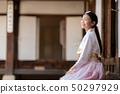 Korean lady in Hanbok dress in Bongeunsa temple   50297929