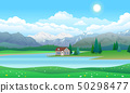 Beautiful landscape with house on lake, forest and mountains 50298477