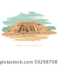Colorful vector illustration the great temple of Ramses 2 hand drawn in white background. 50298708