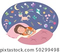 The little girl is sleeping. Children s dreams concept. Vector illustration in flat style 50299498