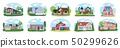 Big houses set, Vector Buildings Set. Flat Design Houses set Isolated on White Background. 50299626