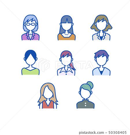 여성 상반신 정면 표정없이 세트 50308405