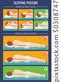 Correct body position during sleep. Ergonomic mattress and pillow for healthy sleeping 50308747