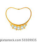 Gold necklace with five blue diamonds. Vector illustration. 50309935