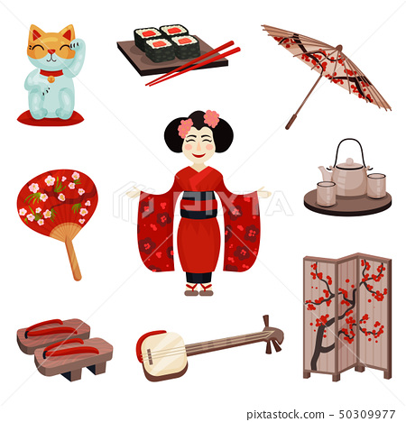 Collection of Japanese souvenirs and accessories.. Vector illustration. 50309977