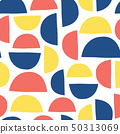 Abstract shapes kids pattern. Semicircles seamless vector background blue red yellow on white 50313069