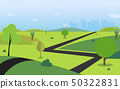 Countryside with road , trees , hills , sky  50322831