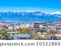 Matsumoto Castle and city area seen from Matsumoto City Office observation deck [Nagano Prefecture] 50322869