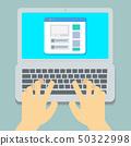 Flat Hands typing on laptop pastel  50322998