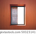 Old wooden window.Window on the wall with isolated 50323141