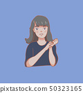 Cute girl drawing art potrait on blue 50323165