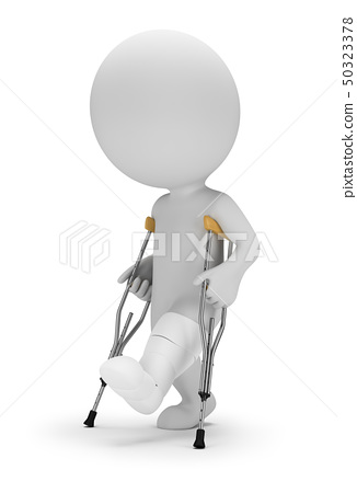 3d small people - on crutches 50323378