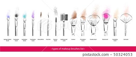 Hand drawn vector set of makeup brushes kit 50324053