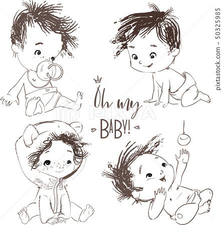 set with cartoon little baby boy 50325985