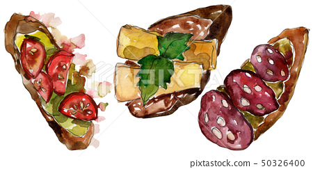 Sandwich in a watercolor style isolated. Watercolour fast food illustration element on white 50326400