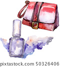 Handbag and nailpolish sketch glamour illustration in a watercolor style isolated element 50326406