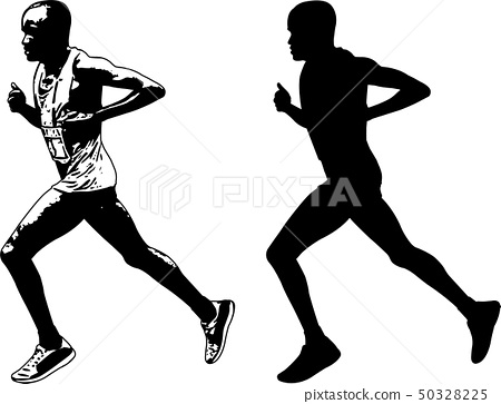 runner sketch and silhouette.. 50328225