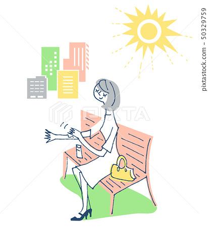 자외선 차단제를 바르는 여성 3 50329759