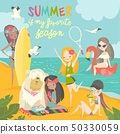 Summer travel. Set of girls in a bikini, traveling summer in exotic place and relax at sea 50330059