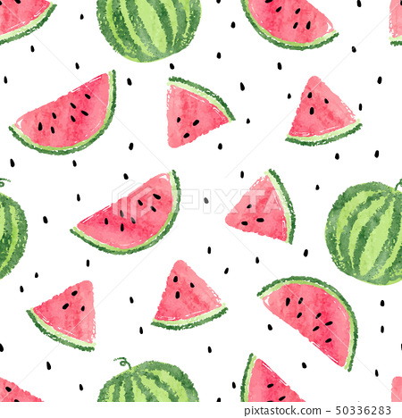 Watercolor watermelons pattern. 50336283