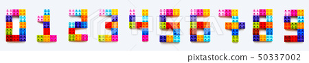 numbers from 0 to 9 made of colorful constructor 50337002