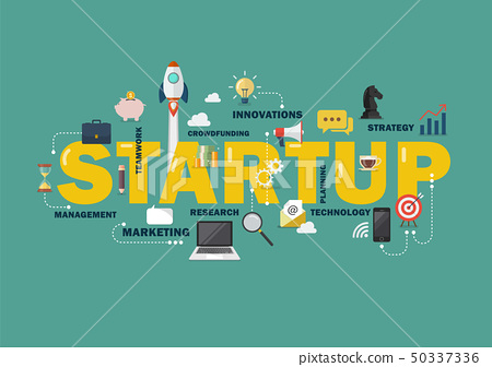 Startup concept with business icons 50337336