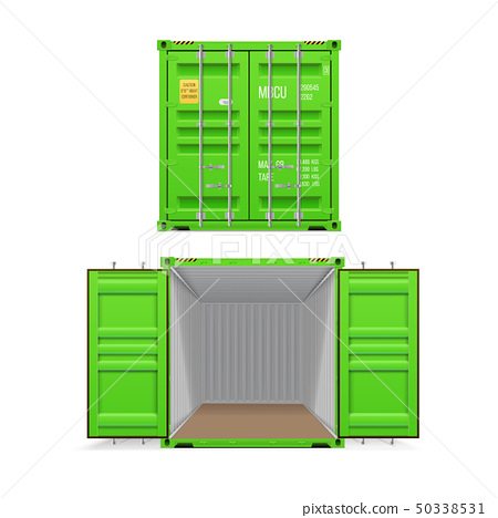 Realistic set of bright  green cargo containers.  50338531