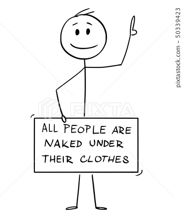 Cartoon of Nude Man with Penis, Groin, Crotch or Genitals Covered by All People Are Naked Under 50339423