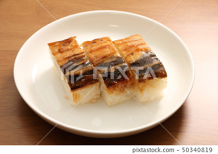 Grilled conger eel and sushi. 50340819