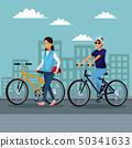 自行车 脚踏车 城市风光 50341633