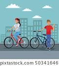城市风光 城市景观 骑自行车的人 50341646