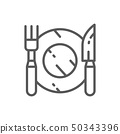 Cutlery, plate with fork and knife line icon. 50343396